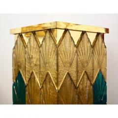Bespoke Italian Art Deco Green Gold Murano Glass Brass and Wood Pedestals - 1524022