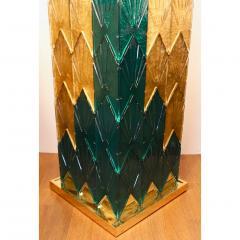 Bespoke Italian Art Deco Green Gold Murano Glass Brass and Wood Pedestals - 1524023