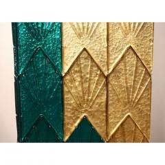 Bespoke Italian Art Deco Green Gold Murano Glass Brass and Wood Pedestals - 1524024