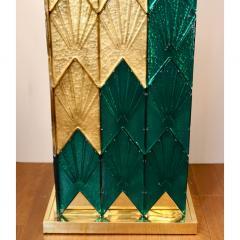 Bespoke Italian Art Deco Green Gold Murano Glass Brass and Wood Pedestals - 1524025