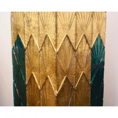 Bespoke Italian Art Deco Green Gold Murano Glass Brass and Wood Pedestals - 1524026