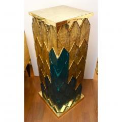 Bespoke Italian Art Deco Green Gold Murano Glass Brass and Wood Pedestals - 1524027