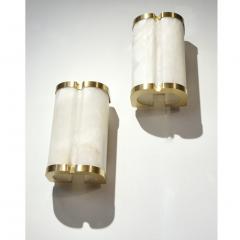 Bespoke Italian Art Deco Style Cream White Alabaster Pair of Brass Edged Sconces - 1389263