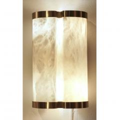 Bespoke Italian Art Deco Style Cream White Alabaster Pair of Brass Edged Sconces - 1389264