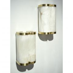 Bespoke Italian Art Deco Style Cream White Alabaster Pair of Brass Edged Sconces - 1389265