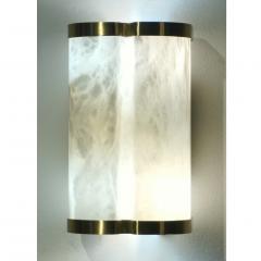 Bespoke Italian Art Deco Style Cream White Alabaster Pair of Brass Edged Sconces - 1389266