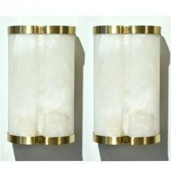 Bespoke Italian Art Deco Style Cream White Alabaster Pair of Brass Edged Sconces - 1389267