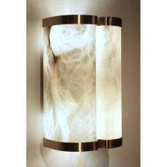 Bespoke Italian Art Deco Style Cream White Alabaster Pair of Brass Edged Sconces - 1389268