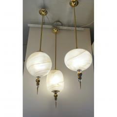 Bespoke Italian Brass Cream White Alabaster Glass Cylinder Pendant Lantern - 1389242