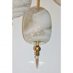 Bespoke Italian Brass Cream White Alabaster Glass Cylinder Pendant Lantern - 1389243