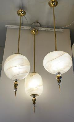 Bespoke Italian Brass and Cream White Alabaster Murano Glass Oval Pendant Light - 1389183