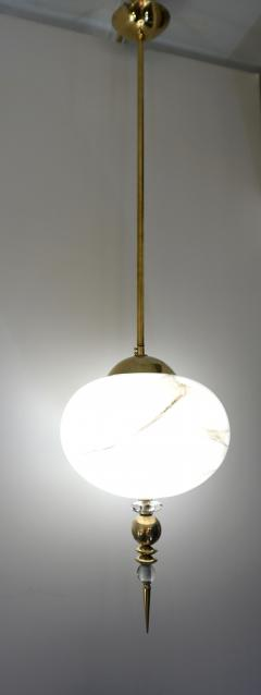 Bespoke Italian Brass and Cream White Alabaster Murano Glass Oval Pendant Light - 1389184