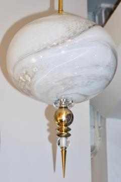 Bespoke Italian Brass and Cream White Alabaster Murano Glass Oval Pendant Light - 1389187