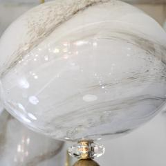 Bespoke Italian Brass and Cream White Alabaster Murano Glass Oval Pendant Light - 1389188