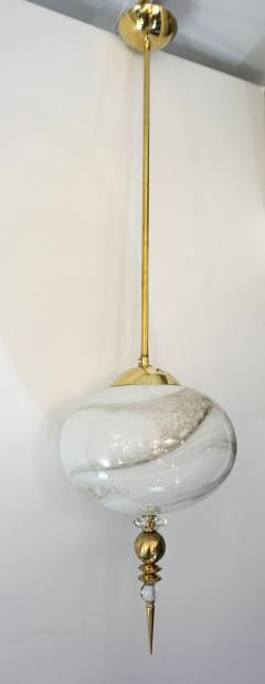 Bespoke Italian Brass and Cream White Alabaster Murano Glass Oval Pendant Light - 1389189
