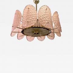 Bespoke Italian Crystal Rose Pink Murano Glass Brass Chandelier Flushmount - 1464685