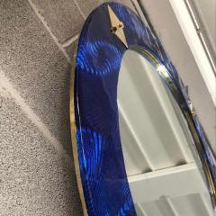 Bespoke Italian Custom Brass and Textured Cobalt Blue Murano Glass Round Mirror - 1389011