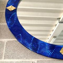 Bespoke Italian Custom Brass and Textured Cobalt Blue Murano Glass Round Mirror - 1389013