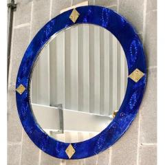 Bespoke Italian Custom Brass and Textured Cobalt Blue Murano Glass Round Mirror - 1389015