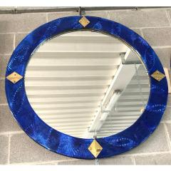 Bespoke Italian Custom Brass and Textured Cobalt Blue Murano Glass Round Mirror - 1389016