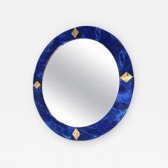Bespoke Italian Custom Brass and Textured Cobalt Blue Murano Glass Round Mirror - 1389089