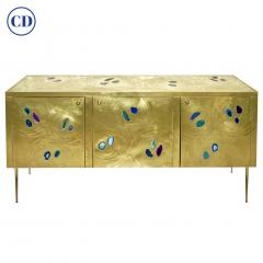 Bespoke Italian Design One Drawer Brass Console with Blue Green Purple Agate - 1700022
