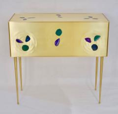 Bespoke Italian Design One Drawer Brass Console with Blue Green Purple Agate - 1700032