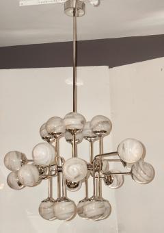 Bespoke Italian Modern 24 Light Alabaster Murano Glass Custom Nickel Chandelier - 1990698
