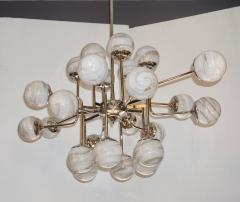 Bespoke Italian Modern 24 Light Alabaster Murano Glass Custom Nickel Chandelier - 1990699