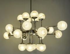 Bespoke Italian Modern 24 Light Alabaster Murano Glass Custom Nickel Chandelier - 1990704