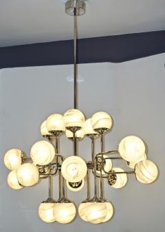 Bespoke Italian Modern 24 Light Alabaster Murano Glass Custom Nickel Chandelier - 1990705