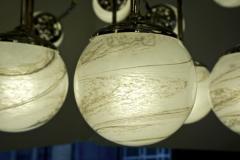 Bespoke Italian Modern 24 Light Alabaster Murano Glass Custom Nickel Chandelier - 1990707