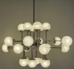 Bespoke Italian Modern 24 Light Alabaster Murano Glass Custom Nickel Chandelier - 1990709
