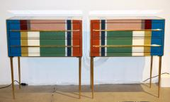Bespoke Italian Pair of Mondrian Style Blue Green Yellow Chests End Tables - 1127740