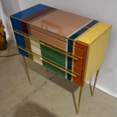 Bespoke Italian Pair of Mondrian Style Blue Green Yellow Chests End Tables - 1127741