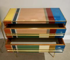 Bespoke Italian Pair of Mondrian Style Blue Green Yellow Chests End Tables - 1127742