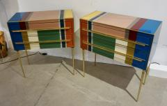 Bespoke Italian Pair of Mondrian Style Blue Green Yellow Chests End Tables - 1127743