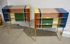 Bespoke Italian Pair of Mondrian Style Blue Green Yellow Chests End Tables - 1127744