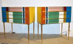 Bespoke Italian Pair of Mondrian Style Blue Green Yellow Chests End Tables - 1127745