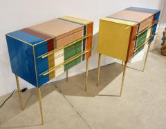 Bespoke Italian Pair of Mondrian Style Blue Green Yellow Chests End Tables - 1127747