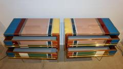 Bespoke Italian Pair of Mondrian Style Blue Green Yellow Chests End Tables - 1127751