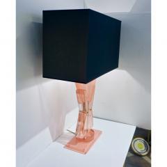 Bespoke Italian Post Modern Rose Pink Murano Glass Geometric Couture Table Lamp - 1946358