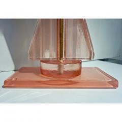 Bespoke Italian Post Modern Rose Pink Murano Glass Geometric Couture Table Lamp - 1946360