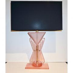 Bespoke Italian Post Modern Rose Pink Murano Glass Geometric Couture Table Lamp - 1946361