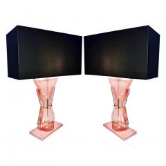 Bespoke Italian Post Modern Rose Pink Murano Glass Geometric Couture Table Lamp - 1946363