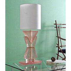 Bespoke Italian Post Modern Rose Pink Murano Glass Geometric Couture Table Lamp - 1946366