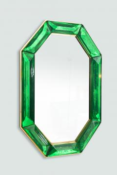Bespoke Octagon Iridescent Emerald Green Murano Glass Mirror in Stock - 1946966