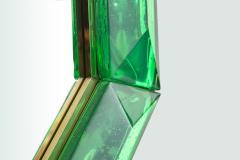Bespoke Octagon Iridescent Emerald Green Murano Glass Mirror in Stock - 1946967