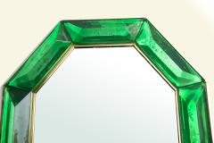 Bespoke Octagon Iridescent Emerald Green Murano Glass Mirror in Stock - 1946968