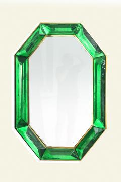 Bespoke Octagon Iridescent Emerald Green Murano Glass Mirror in Stock - 1946970